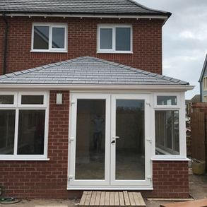Patio doors installed on a new extension